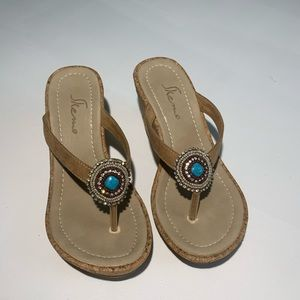 Skemo Jewelled Turquoise Wedge Sandals
